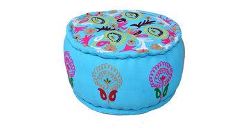 Round Pouf Turquoise Ottoman in Cotton