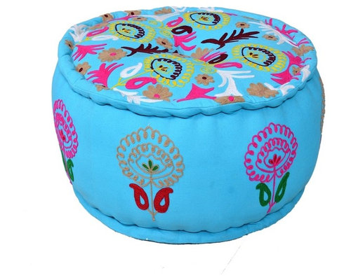 Round Pouf Turquoise Ottoman in Cotton - Floor Pillows And Poufs