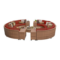 TKClassics - Tuscan Wicker Outdoor 11-Piece Patio Set, Terracotta - Outdoor Lounge Sets