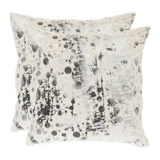 Safavieh Oscar Polyester 20-inch Pillows, White Frost (Set of 2)