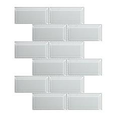 Metro Bevelled Mosaic Wall Tiles, White, Set of 12