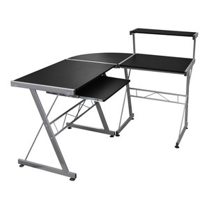 vidaXL Computer Desk Workstation With Pull Out Keyboard Tray, Black