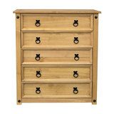 Traditional Chest of Drawers, Solid Wood With 5 Drawers