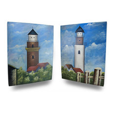 Set of 2 Wooden Lighthouse Decorative Wall Hangings