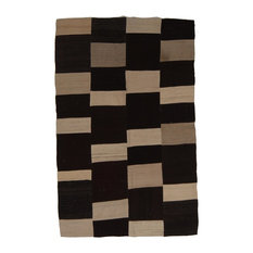 Kelim Chequer Handwoven Rug, Dark Brown and Taupe, 145x230 cm