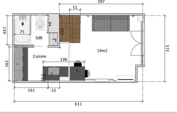 Stunning plan amenagement studio 25m2 images amazing for Chambre 15m2