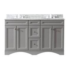 """Talisa 60"""" Double Bathroom Vanity,Grey,Marble Top,Round Sink"""