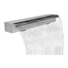 "vidaXL Waterfall Pool Stainless Steel 35.4"" Cascade Fountain Garden Outdoor"