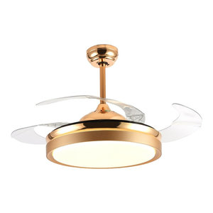 Warm Light 36 Quot Round Led Ceiling Fan With Foldable Blades Chrome Contemporary Ceiling Fans
