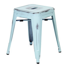 """Small Rustic 18"""" Stool, Distressed Blue"""