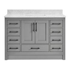 "Kendall Pebble Gray Bathroom Vanity Toe Kick Base, 48"", With Carrara Marble Top"