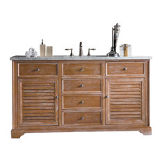 "Savannah 60"" Driftwood Single Vanity w/ 2cm Carrara White Marble Top"