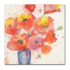 "Sheila Golden 'Vase of Poppies 5' Canvas Art, 24""x24"""