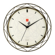 Bulova Frank Lloyd Wright Luxfer Prism Wall Clock, Bronze Frame, Sweep Seconds