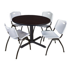 Cain 48 Round Breakroom Table- Mocha Walnut & 4 'M' Stack Chairs- Grey