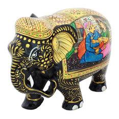 Royal Romance Elephant Wood Figurine