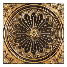"24""x24"" Rose Window, Faux Tin Ceiling Tile, Antique Gold"