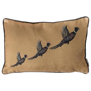 Ochre Flying Pheasants Cushion
