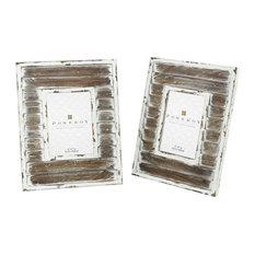 Weathered Whitewashed Wood Picture Frame Set of 2 made of Iron/Wood Size - 13