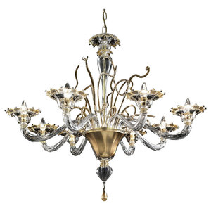 Gondola Murano Glass Chandelier, Transparent and Gold