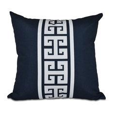 "Key Stripe, Stripe Print Outdoor Pillow, Navy Blue, 20""x20"""