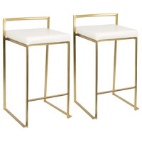 Lumisource Fuji Counter Stools, Gold With White Faux Leather, Set of 2