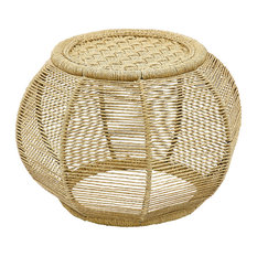 Rope and Iron Drum Stool, Natural