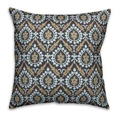 "Ikat, Brown and Blue Outdoor Throw Pillow, 16""x16"""