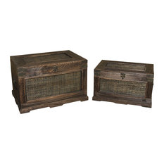 """Screen Gems-Pack of 2 Contemporary Set of 2 Wooden Box, 17""""x10""""x11"""""""