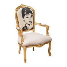 Louis XVI Famous Personality Armchair, Gold, Audrey