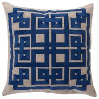 Contemporary Gramercy Square Blue Gray Decorative Pillow