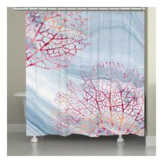 Soft Slate Serene Coral Shower Curtain