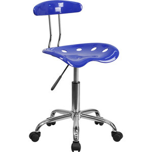 OffexVibrant Nautical Blue and Chrome Computer Task Chair with Tractor Seat