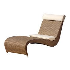 Zefiro Outdoor Chaise Lounge, Coffee Brown