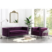 Jeannie Velvet 3-Seat Sofa Button Tufted With Metal Legs, Purple