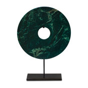 Jade Coin on Iron Stand, Emerald Green