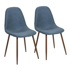 LumiSource   Pebble Mid Century Modern Dining/Accent Chair, Walnut And Blue,