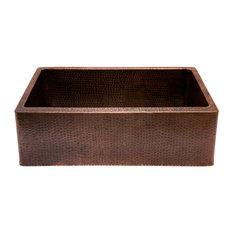 "Premier Copper Products - 30"" Hammered Copper Kitchen Apron Single Bas, Sink - Kitchen Sinks"