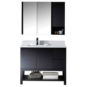 "Monaco 42"" Left Vanity Set With Medicine Cabinet and Wall Cabinet, Espresso"