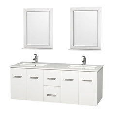 Double Bathroom Vanity Set With White Man-Made Stone Countertop