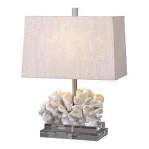Coral Ivory Sculpture Table Lamp, Coastal Sea Shell White Beach Light