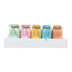 Key West Quart Mason Jars Planter Box Centerpiece, 6 Piece Set