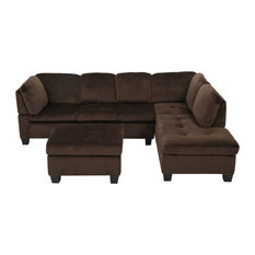 GDF Studio 3-Piece Welsh Chocolate Fabric Sectional Set