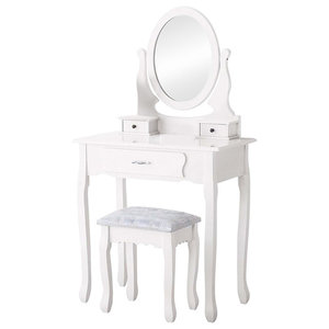 Modern Dressing Table Set, Round Mirror and Cushioned Stool, 3-Drawer, White