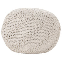 Haley Indoor/Outdoor Fabric Hand Knit Pouf, Ivory