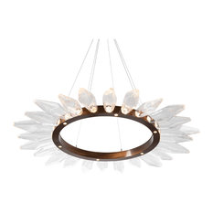 """Rock Crystal 56"""" Radial Ring, Oil Rubbed Bronze, Chilled Smoke"""