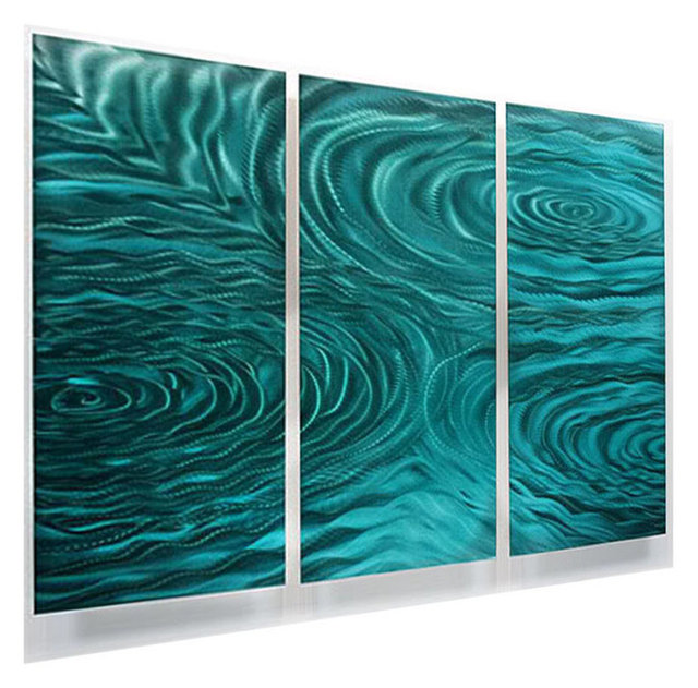 Teal green 3 panel metal wall art contemporary home accent liquid ambiance