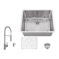 16-Gauge Radius Single Bowl Bar Sink, Pull Out Kitchen Faucet, Soap Dispenser
