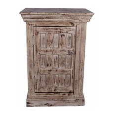 Snow White Distressed Mango Wood Nightstand End Table Cabinet
