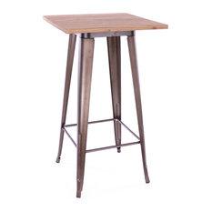 Dreux Steel Bar Table, Rustic Matte Light Wood